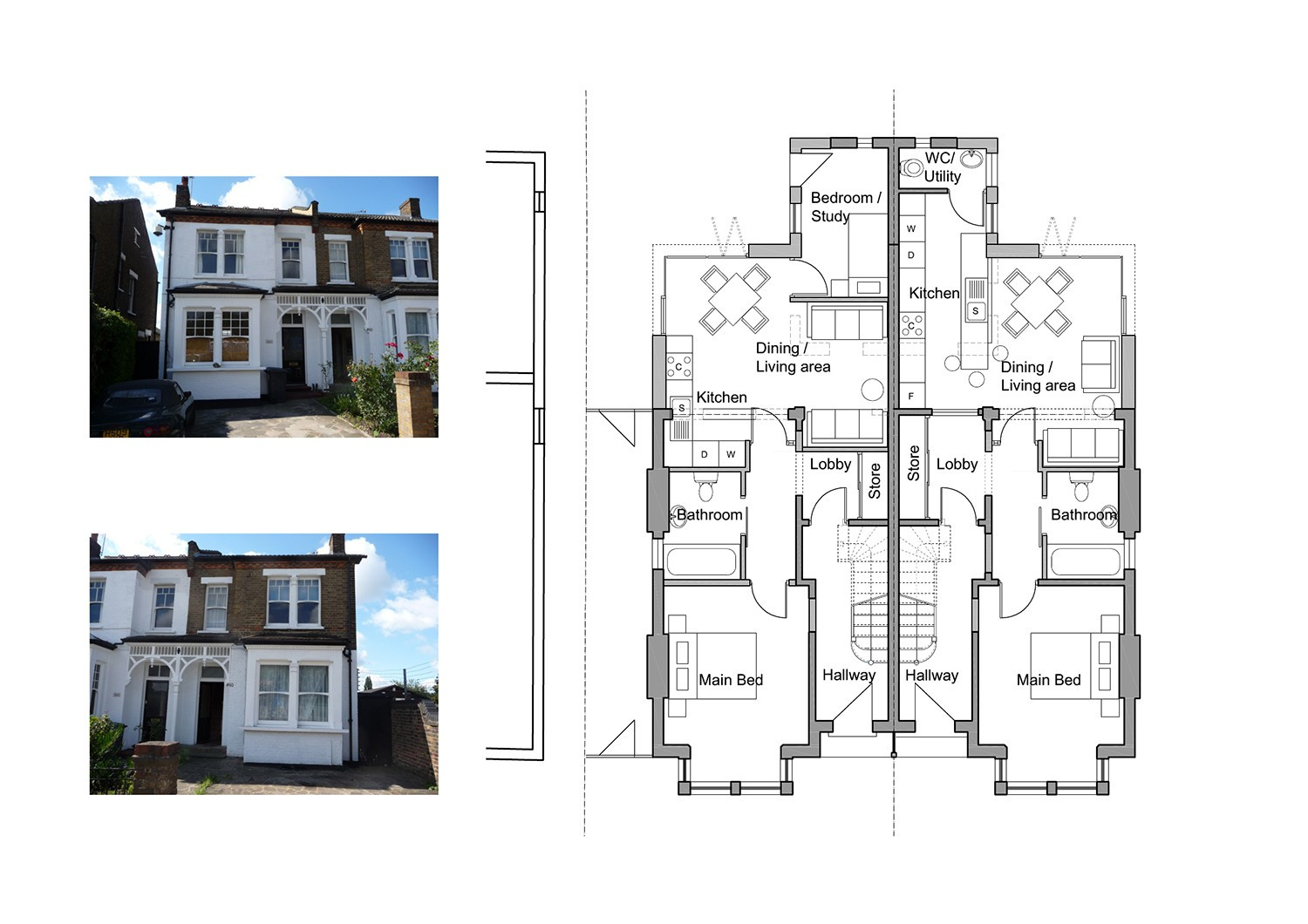 Design and build building contractors london for Side by side plans