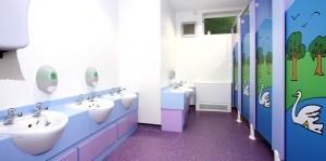 washroom cubicle installation